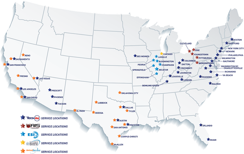 Locations / Coverage Map - Tech-24 Commercial Food Service Equipment and Safe Repair